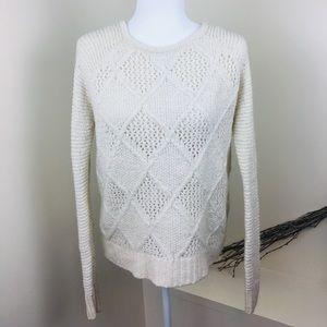 American Eagle Cream Diamond Knit Crewneck Sweater